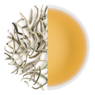 Himalayan Silver Needle Spring White Dry Tea Leaves & Liquor